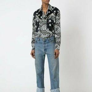 Faith Connexion BodySuit Silk Shirt Zebra w/Stars